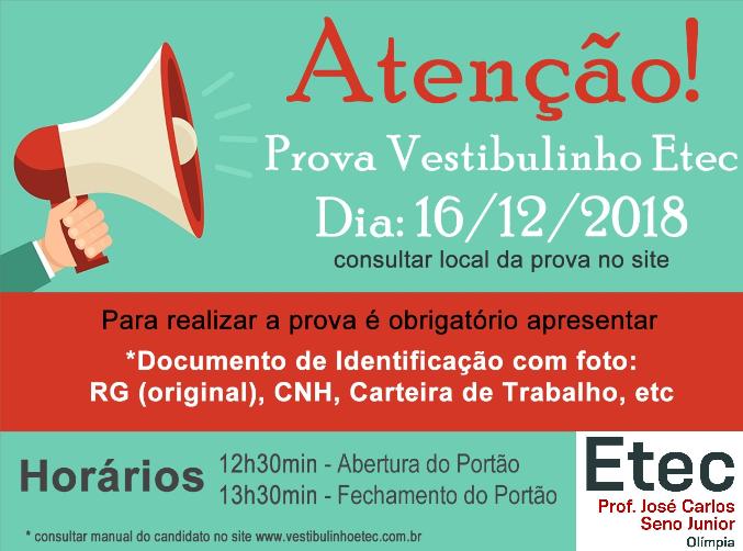 d0824a36c172b OBSERVAÇÕES IMPORTANTES PARA O VESTIBULINHO ETEC 1º SEMESTRE 2019 ...